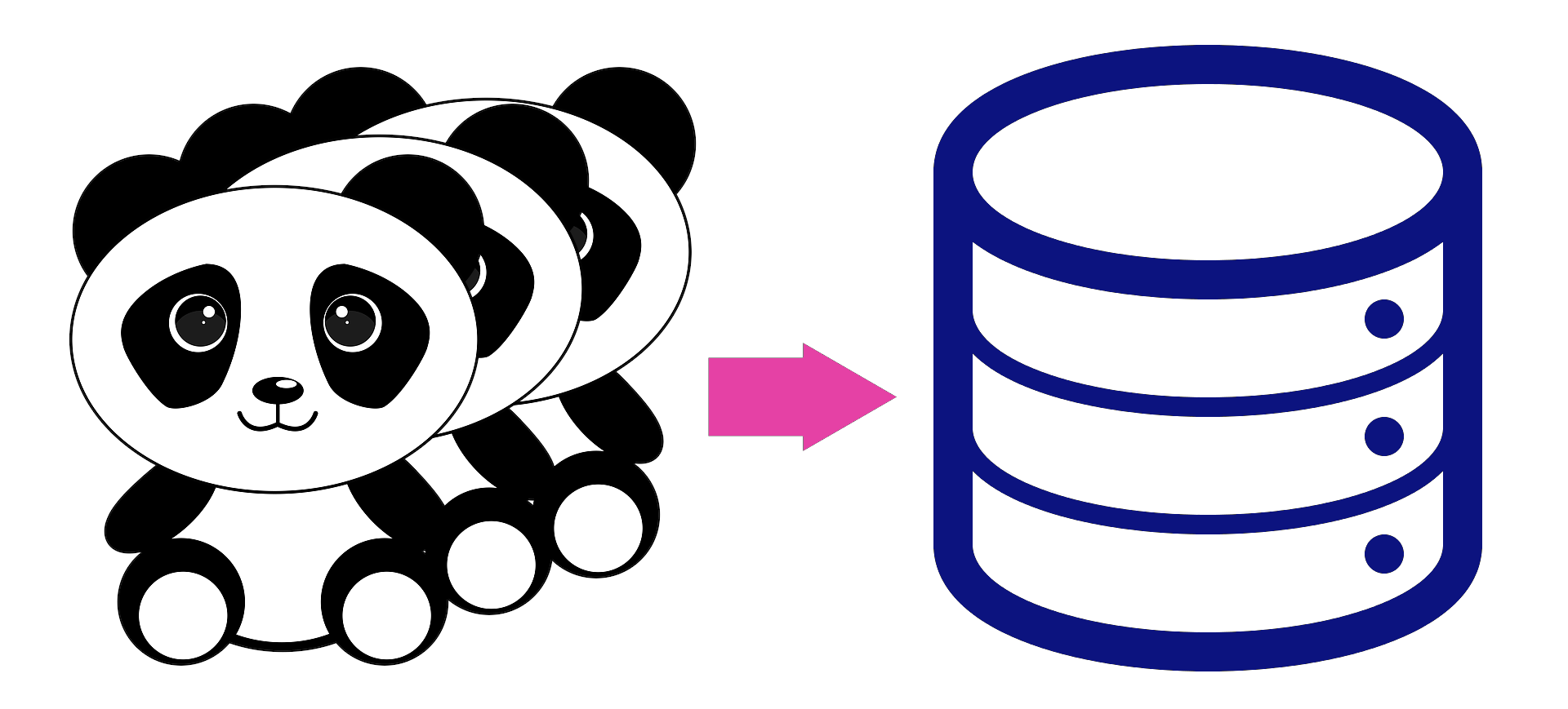 image of pandas and arrow pointing to database symbol